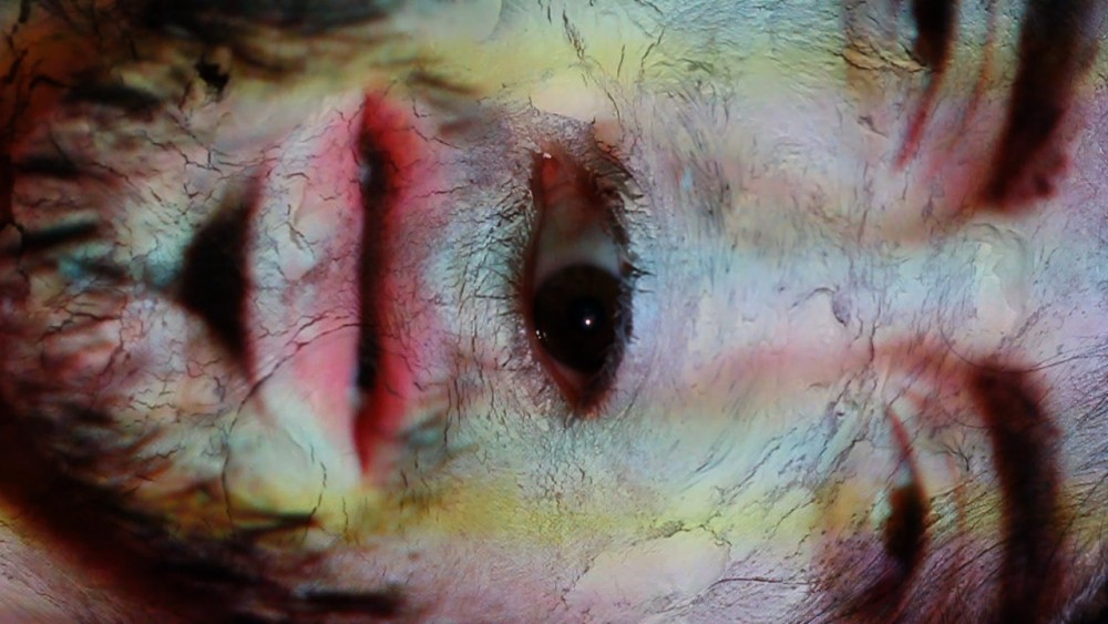 A close up of a face covered in white paint, another eye is in the centre of the face.