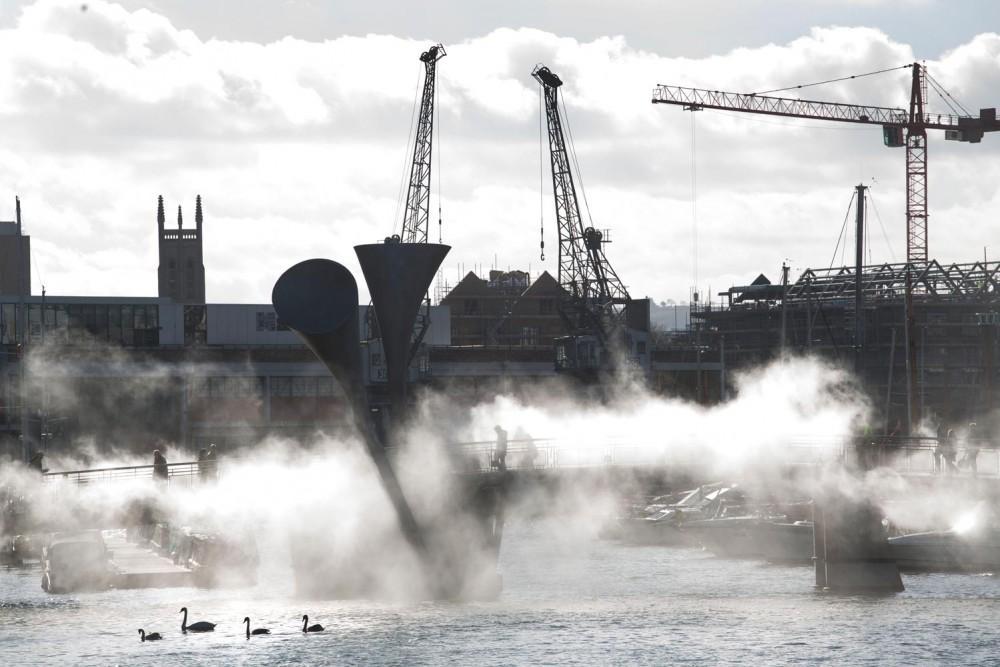 Fog moving across Pero's Bridge and Bristol Harbourside.