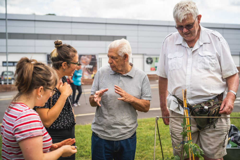 Residents in lawrence Weston discuss the community garden