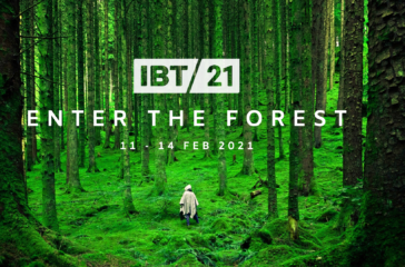 A bright green forest with text reading: IBT21, Enter The Forest. 18 - 21 Feb 2021